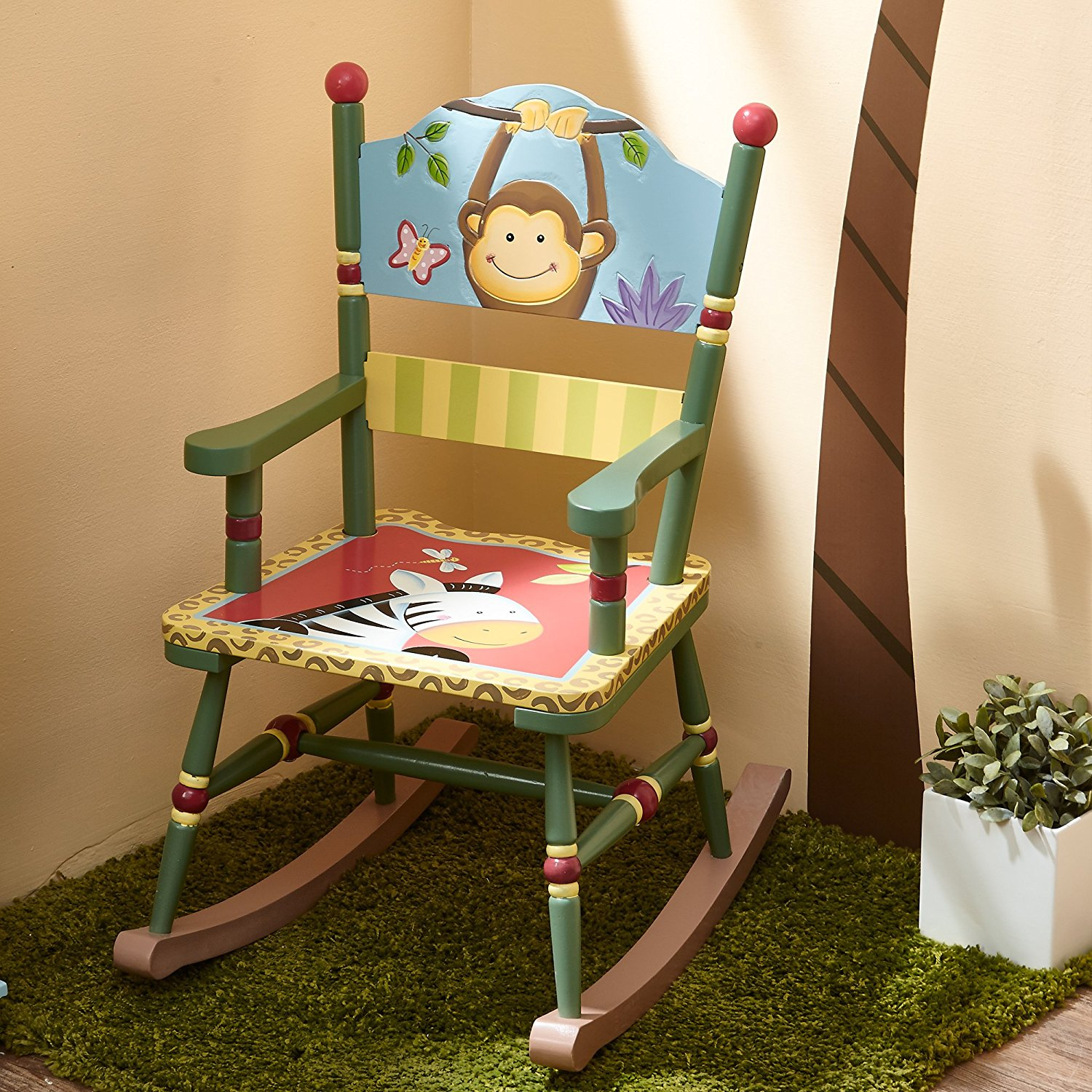 toddler wooden rocking chair round table with 4 chairs fantasy fields sunny safari animals thematic kids imagination inspiring hand crafted painted details non toxic