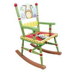 Kids Wooden Rocking Chair Real Leather Dining Table Chairs Fantasy Fields  Sunny Safari Animals Thematic