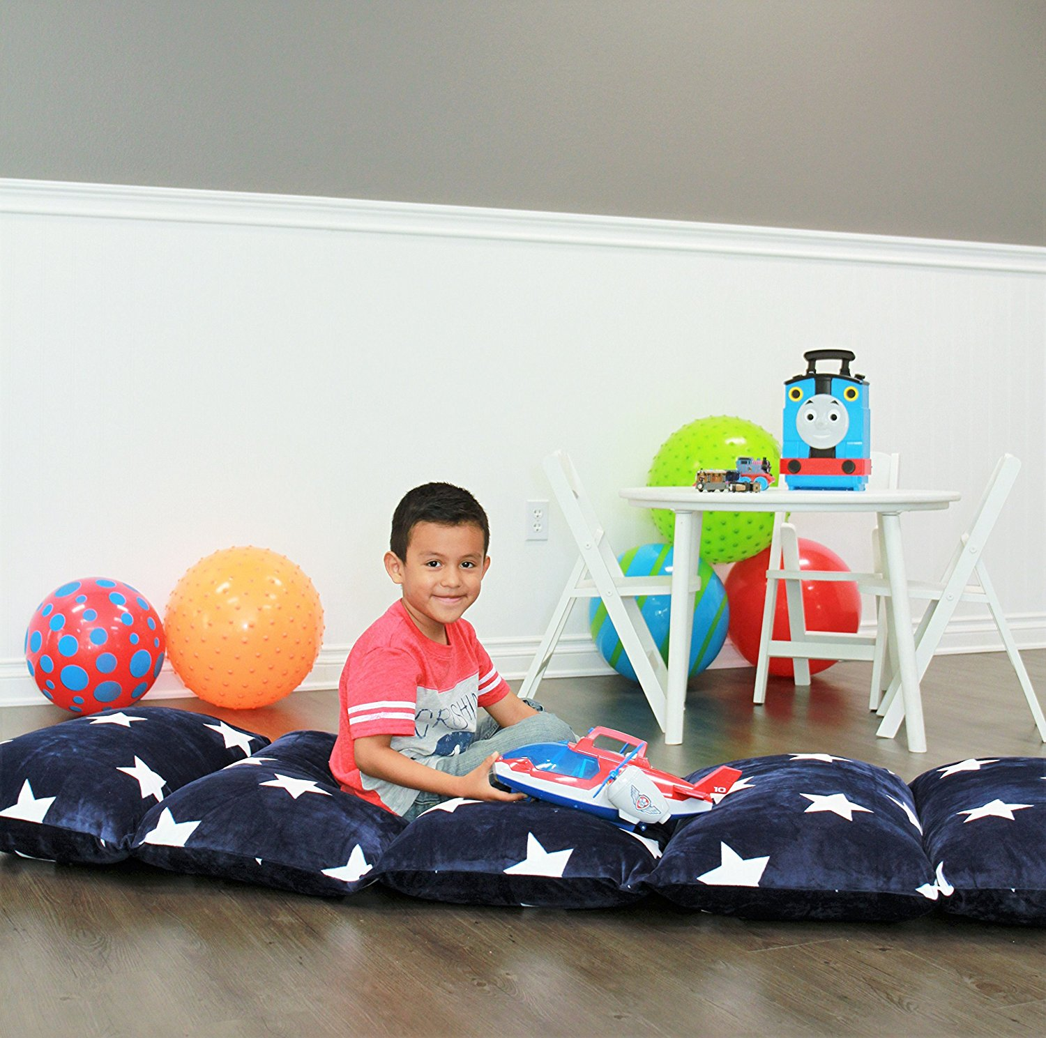 kid camping chair desk heavy duty kids floor pillow fold out lounger fabric cover for bed and game rooms, reading, video games or ...