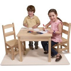 Kids Wooden Table And Chair Set Wrestling Chairs Melissa Doug Solid Wood 2 Light Finish