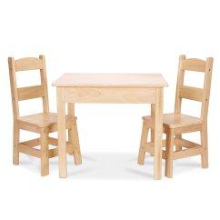 Solid Wood Table And Chairs Melissa Doug 2 Set  Light