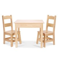 Melissa & Doug Solid Wood Table and 2 Chairs Set  Light ...