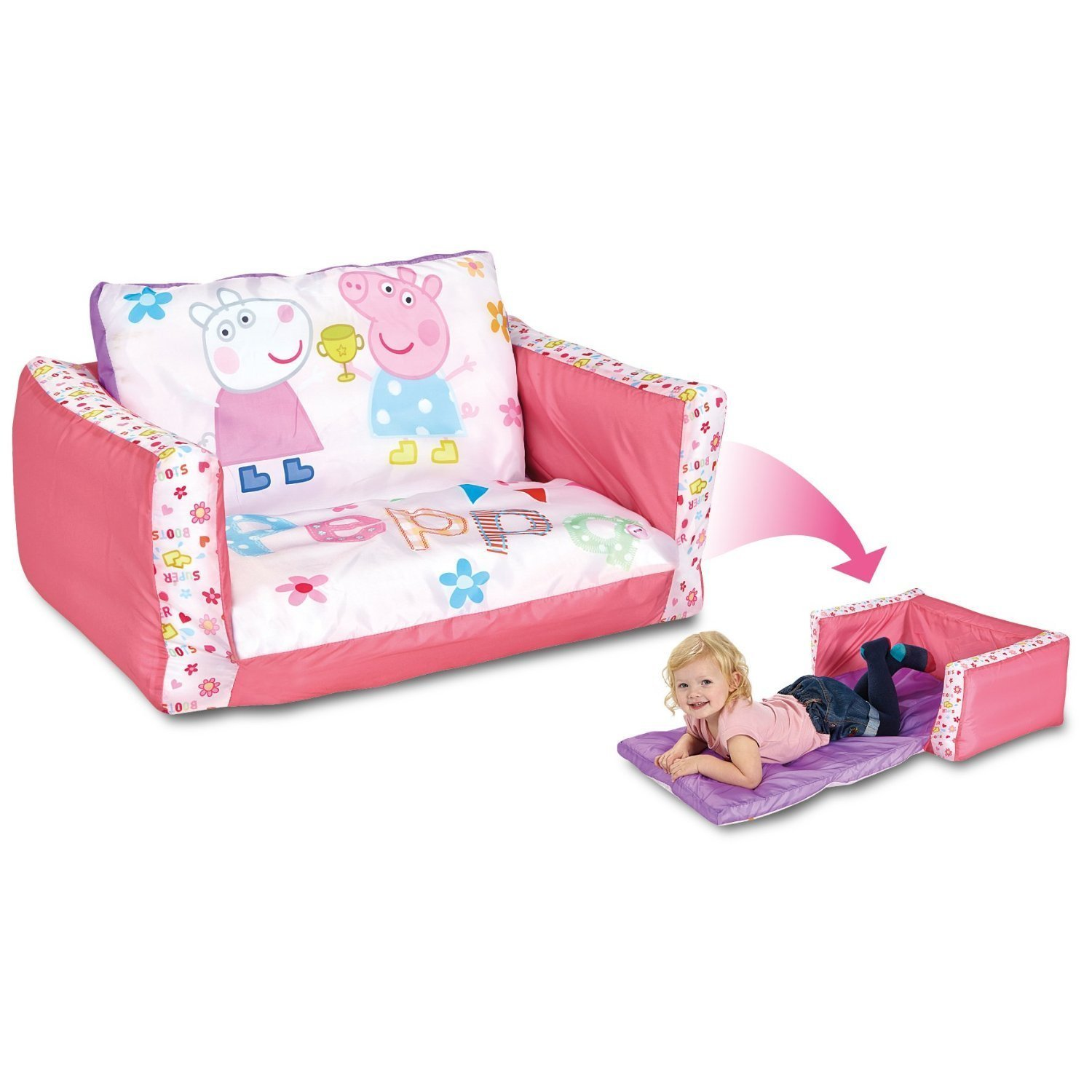 toddler flip sofa cover white fabric peppa pig  inflatable chair for kids with removable