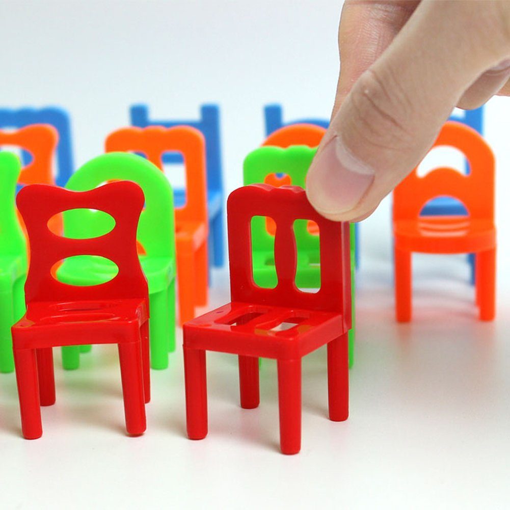 Plastic Kids Chairs Vktech 18x Plastic Balance Toy Stacking Chairs For Kids Desk Play Game Toys