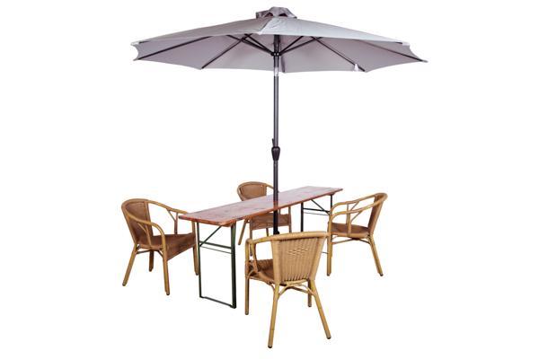 Biertafelset met parasol en stoelen