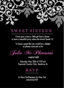 16th birthday invitation wording ideas