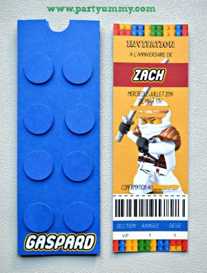 carton d'invitation lego fait main format long vertical