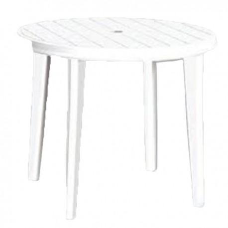 table ronde en plastique blanc