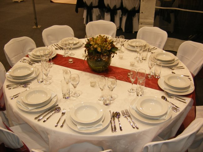 Table Setting  round table with runner  Party Hire  Weddings  Jukeboxes  Marquees  Party