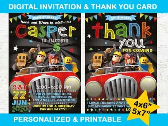 free roblox party printables