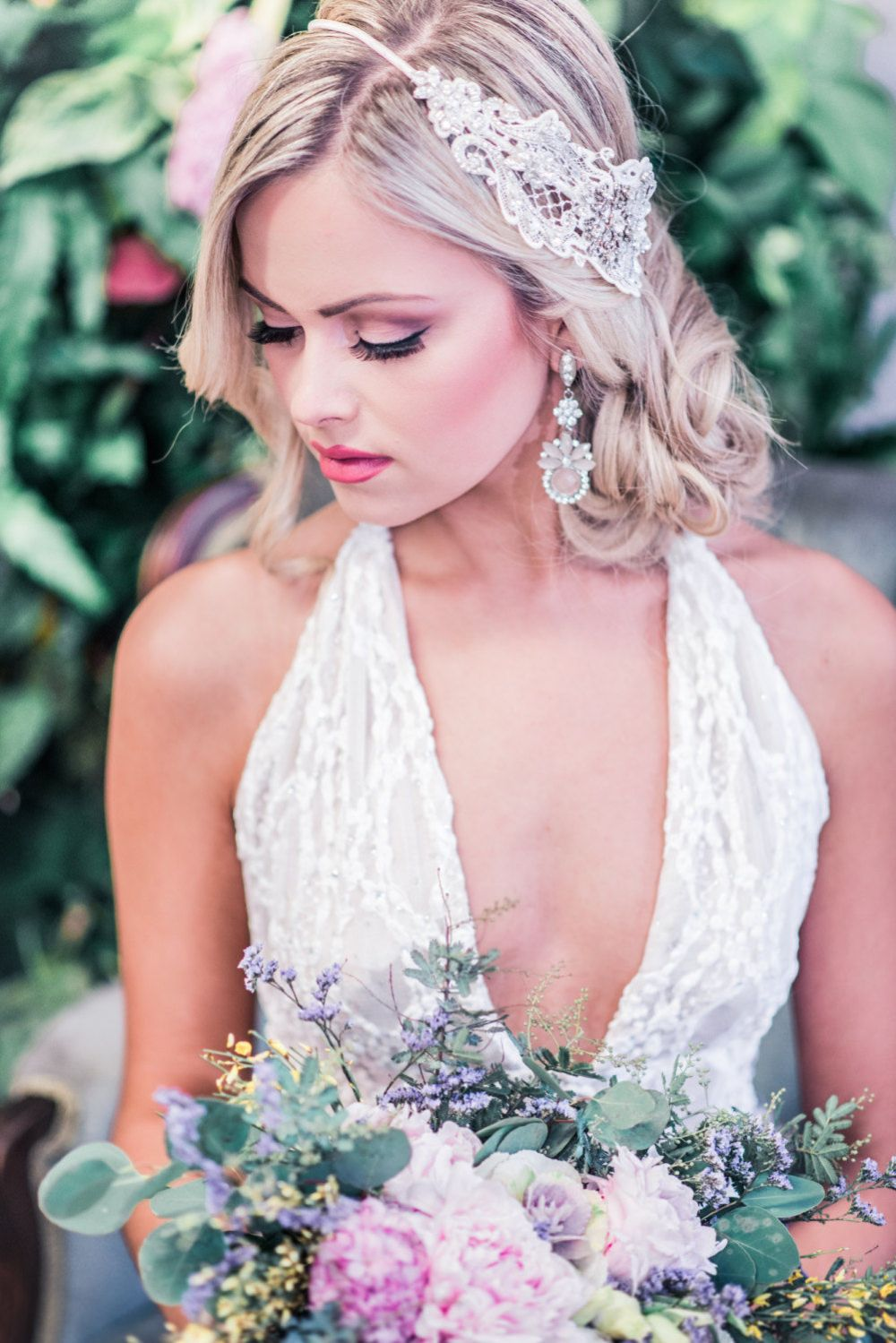 Antonia_Bridal Headband with Guipure Lace and Crystals