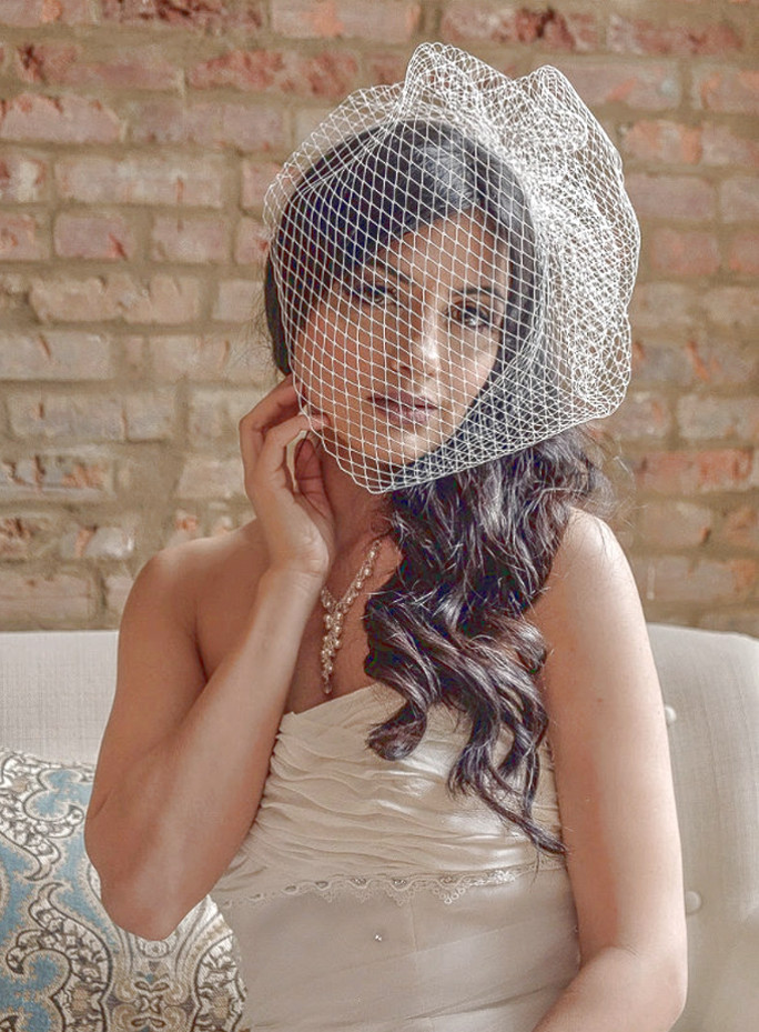Jackie_One Tier Birdcage Russian Netting Bridal Couture Blusher Veil