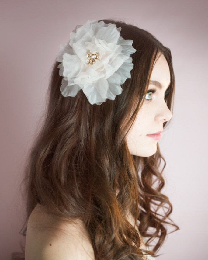 Breanne_Bridal Hair Accessory fascinator Organza Silk Flower