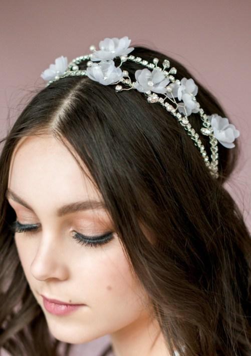Eunice_Bridal Hair Accessory_Crystal Halo Headband with Silk Flowers