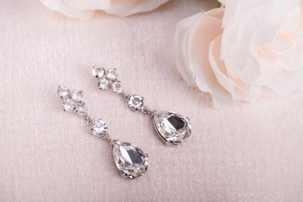 Helena Bridal Silver Crystal Teardrop Earrings