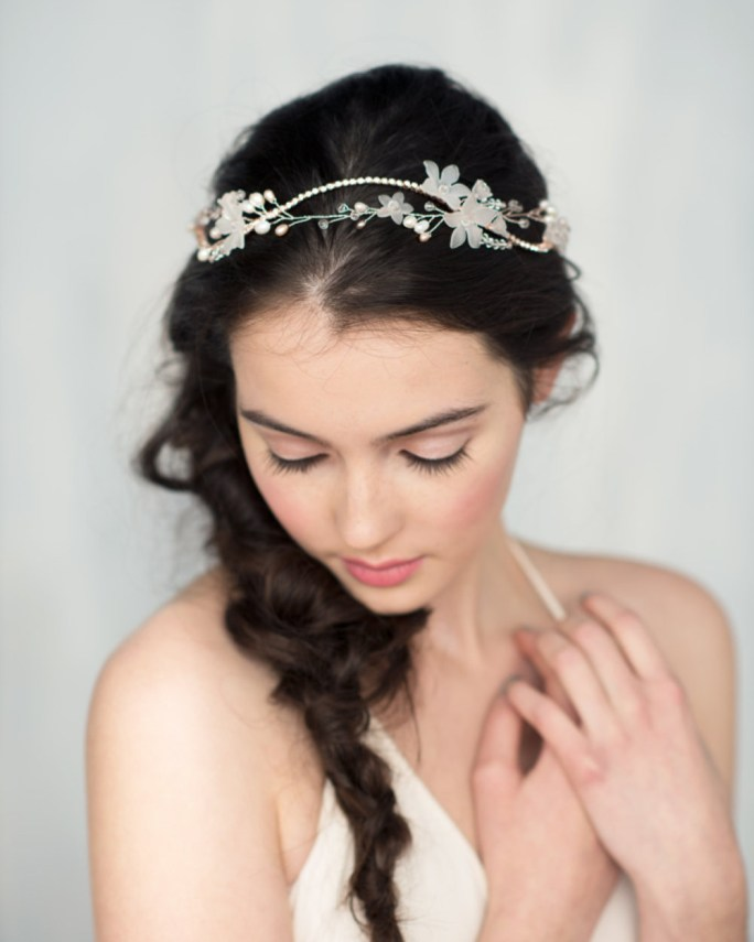 Madeline_Bridal Hair Accessory_Silver Halo Headband Crown with Crystals and Flowers