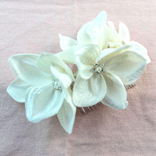 Gardenia_Bridal Hair Accessory_Satin Silk Flower Comb_1