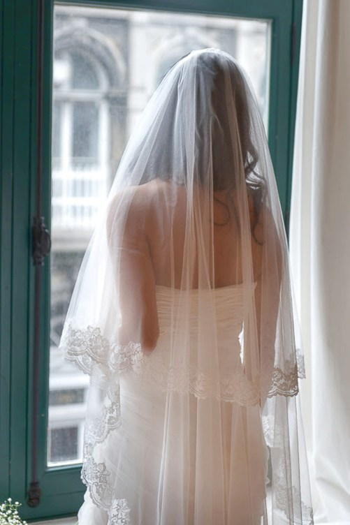 Antoinette_Two Tier Waltz Length Couture Bridal Veil with Lace Edge