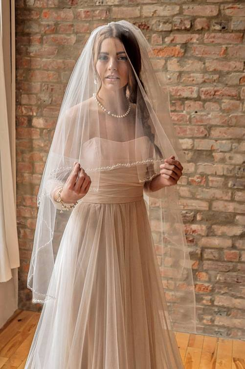 Elise_Two Tier Waltz Length Bridal Veil with Embroidery Edge