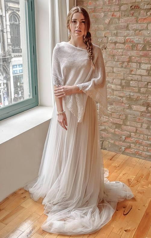Myriam_Stylish Fall Winter Bridal Poncho Hand-knitted