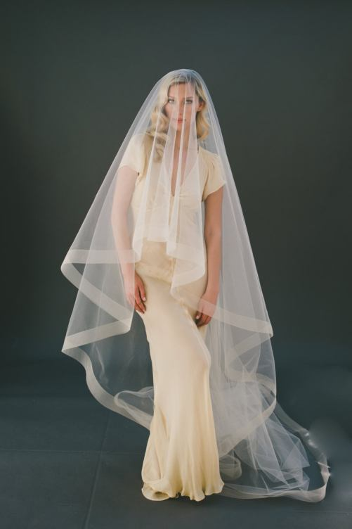 Amelia_Two Tier Cathedral Couture Bridal Veil with Horsehair Edge