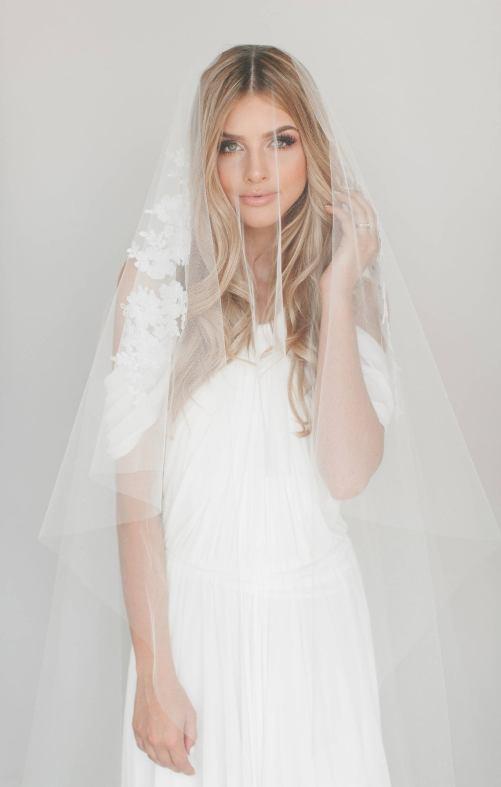 Gianna Veil_Two Tier Chapel Length Bridal Veil with French Alençon Lace Appliqués and Swarovski Crystals