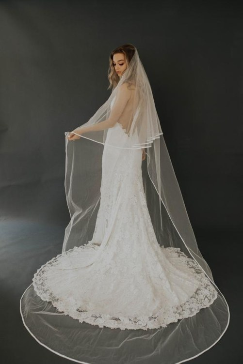Hartley_Two Tier Cathedral Bridal Veil with Satin Silk Edge