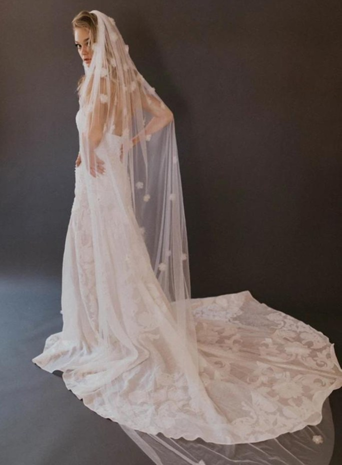 Baltimore Veil_One Tier Cathedral Couture Bridal Veil with organza flowers and crystal beading