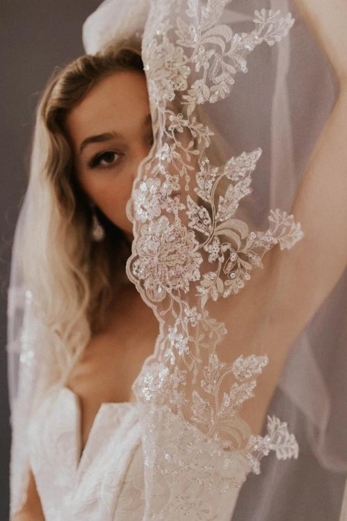 Havanna_One Tier Cathedral Bridal Veil with silver beading and embroidery