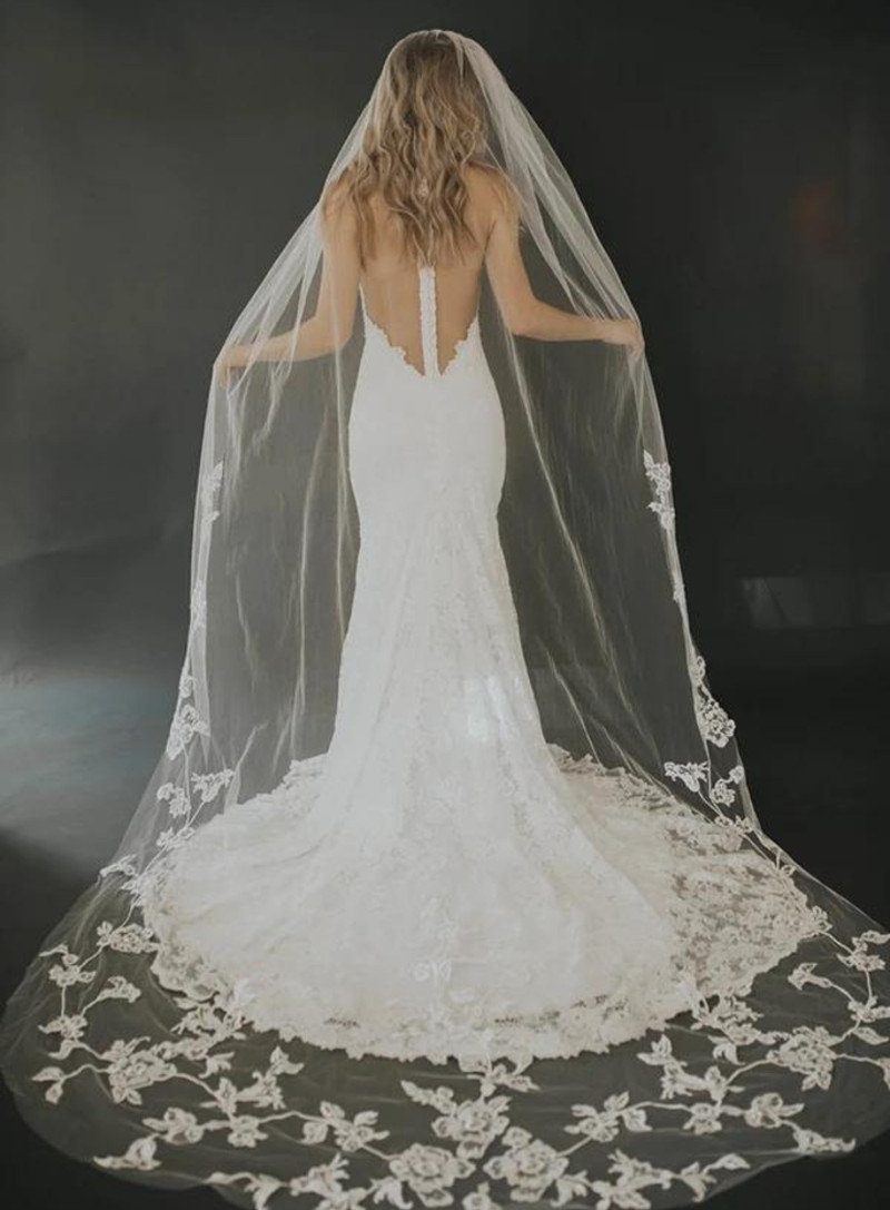 Emilia_One Tier Cathedral Couture Bridal Veil with Lace