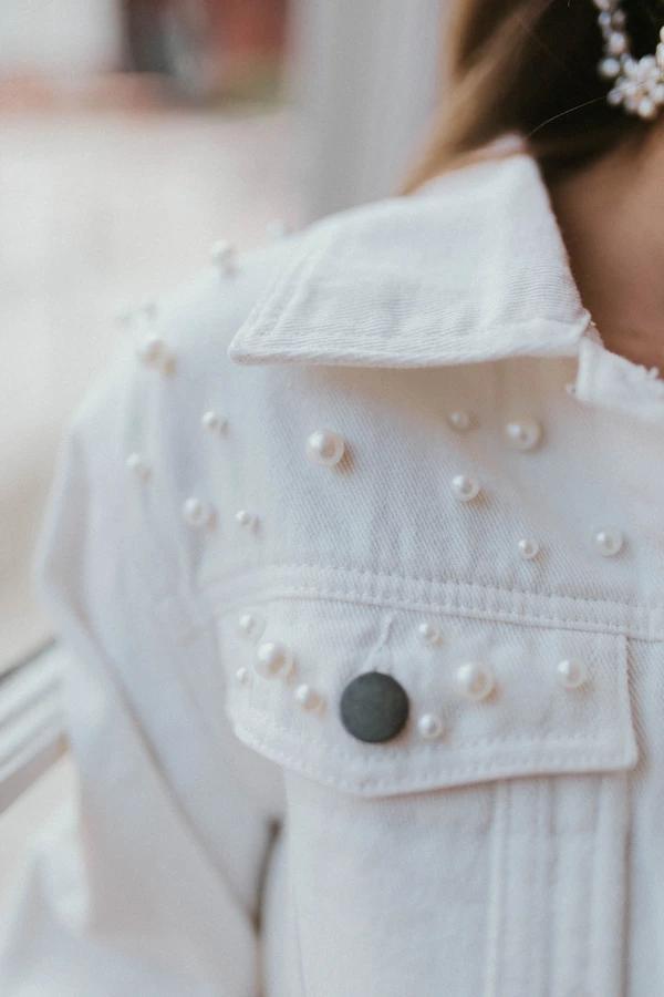 Mrs. White Jacket_Stylish Bridal Bolero White jean jacket with pearls