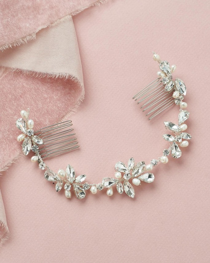 Blake_Bridal Halo Headband hair vine with pearls and crystals