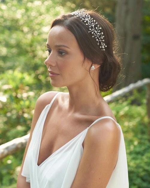 Ella_Bridal Halo Headband hair vine with pearls and crystals
