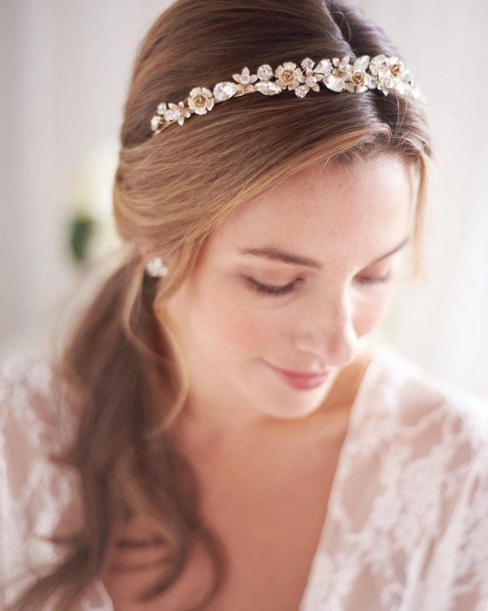 Hadley_Bridal Hair Accessory_Crystal Halo Headband with crystals and Flowers