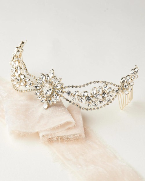 Laurel_Statement Crystal Bridal Headpiece, Crown, Tiara