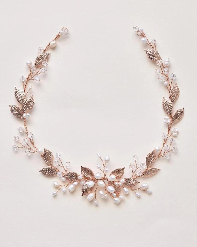 Valentina_rose gold Bridal Halo Headband hair vine with pearls and metal leaves