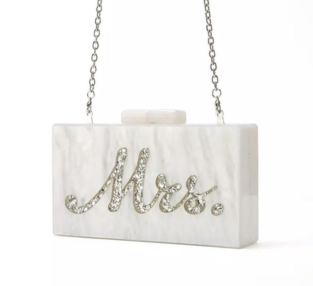 Mrs Silver_wedding bachelorette acrylic clutch bag with engraving