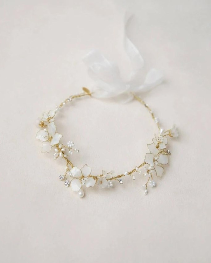 Jasmine_Opal white bridal flower hair crown with swarovski crystals and freshwater pearls
