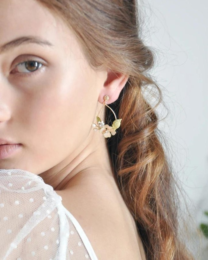 Luisa_Bridal teardrop gold plated floral earrings with hand painted flowers, crystals, and freshwater pearls