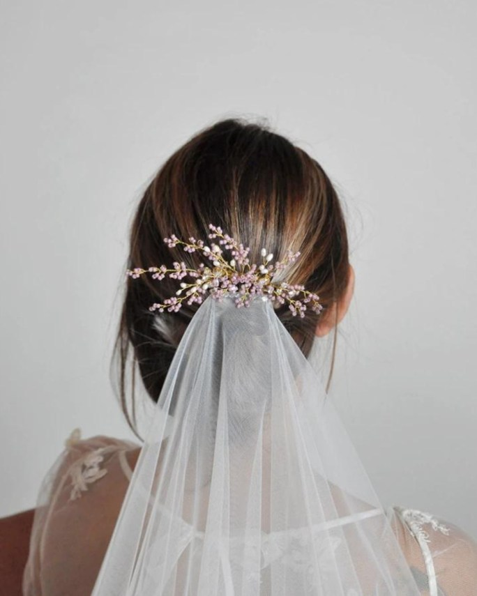 Sienna_Lavender Bridal Hair Comb made with Beads, natural pearls and crystals