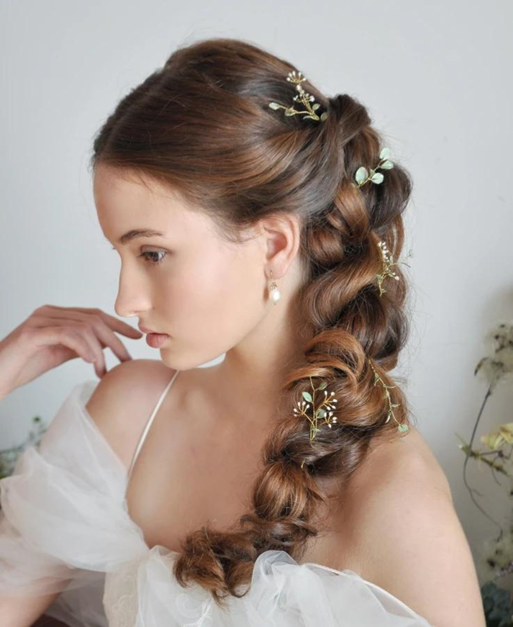 rosa_Baroque pearl drop bridal earrings made with Genuine freshwater baroque pearls and drop shaped crystal charm