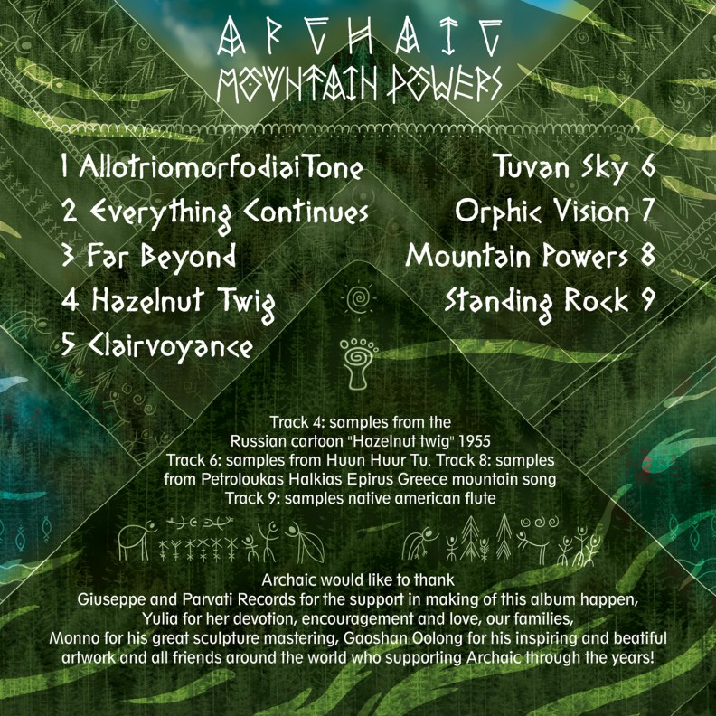 Archaic - Mountain Powers - prvcd32 - back cover