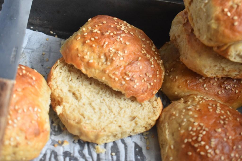 Homemade Whole Wheat Flour Burger Buns - Parveenskitchen.com