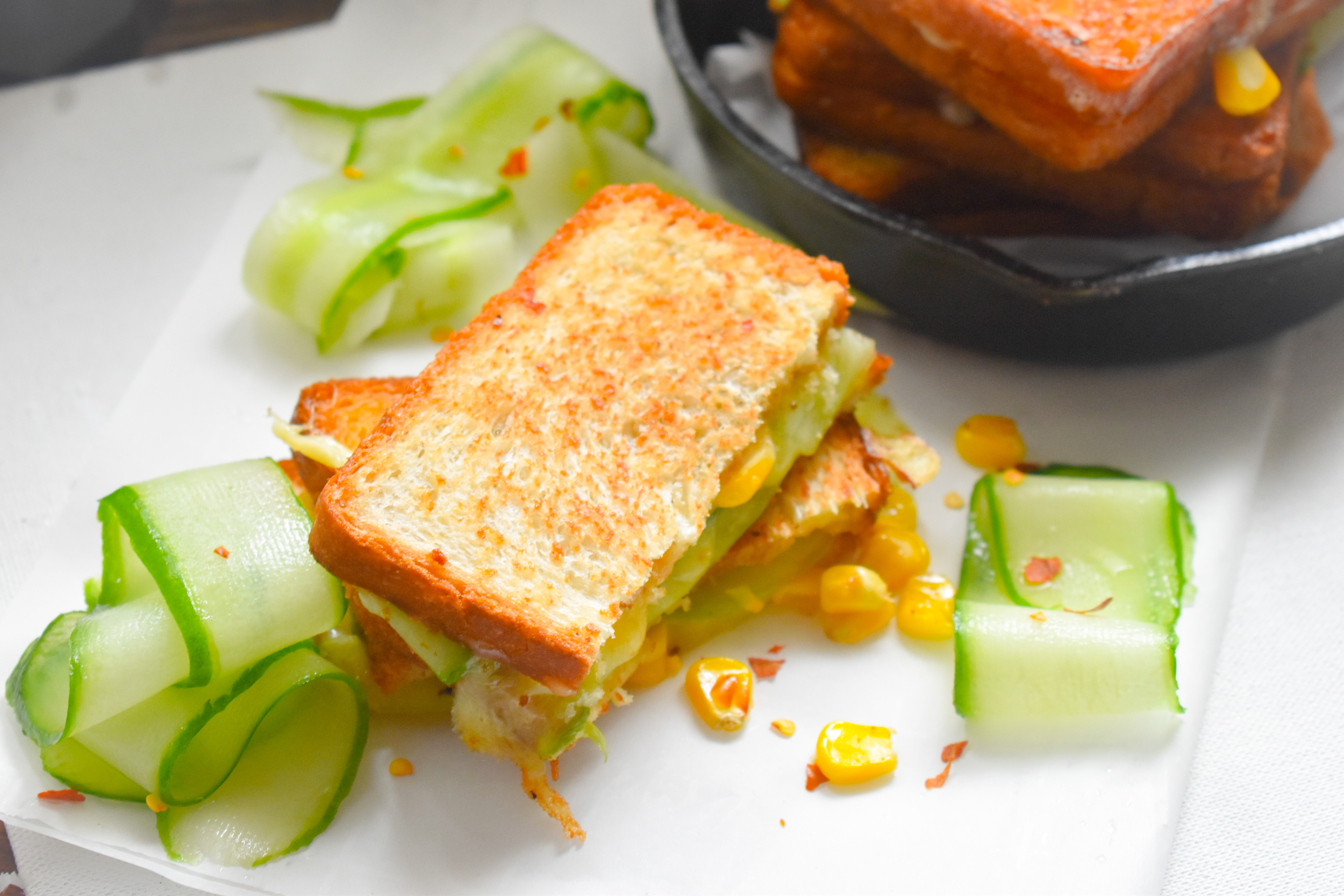 3C Sandwiches – Cheddar Cheese, Corn and Cucumber Grilled toast