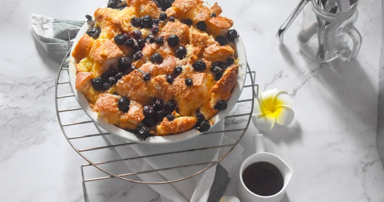 Easy Blueberry Bread and Butter Pudding