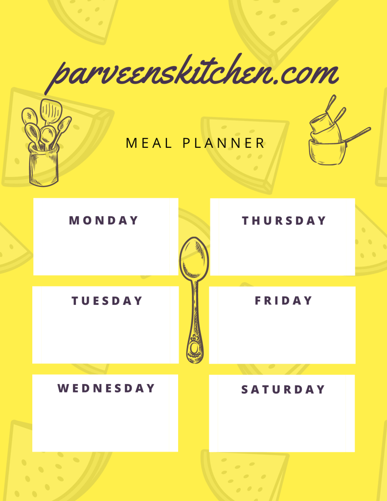 Yellow Pattern Meal Planner Menu