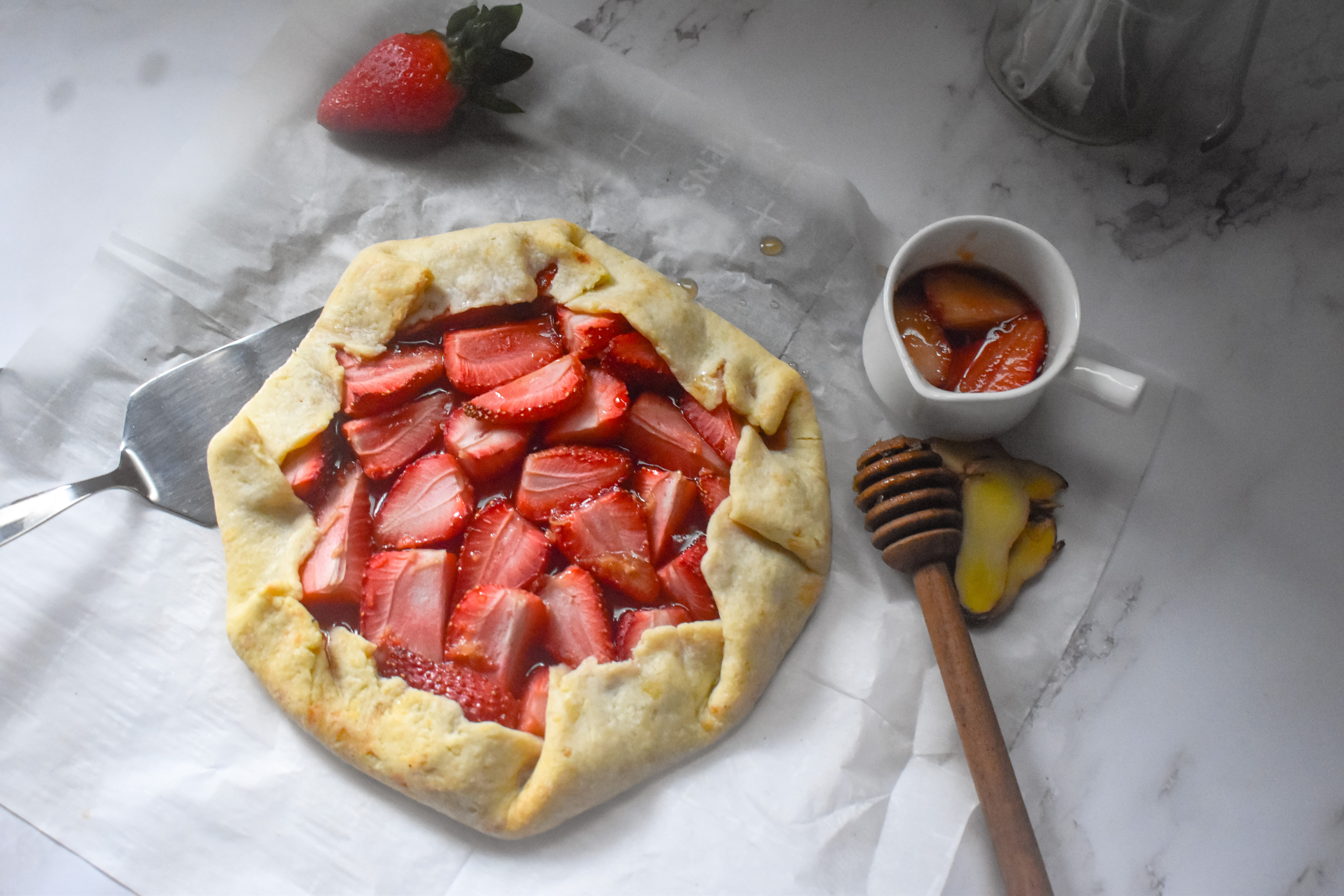 Strawberry Ginger Galette with Cheddar crust