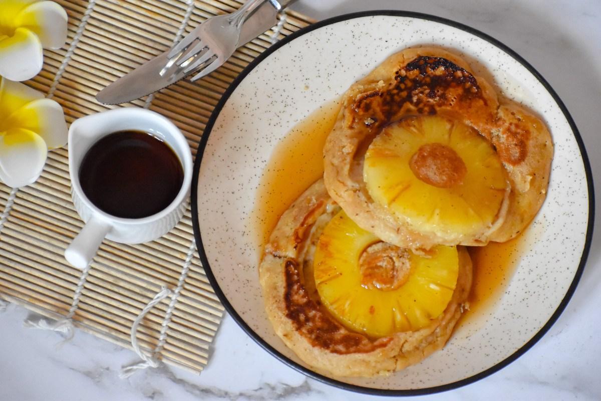 Upside Down Pineapple Pancakes - Parveenskitchen.com