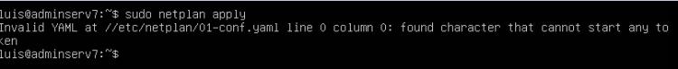 Error de sintaxis al poner IP estática en Ubuntu Server 18.04