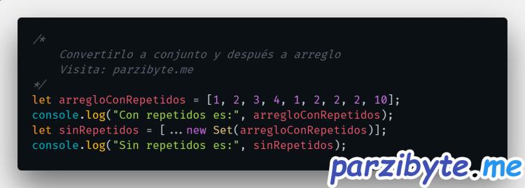 Eliminar duplicados de un arreglo en JavaScript